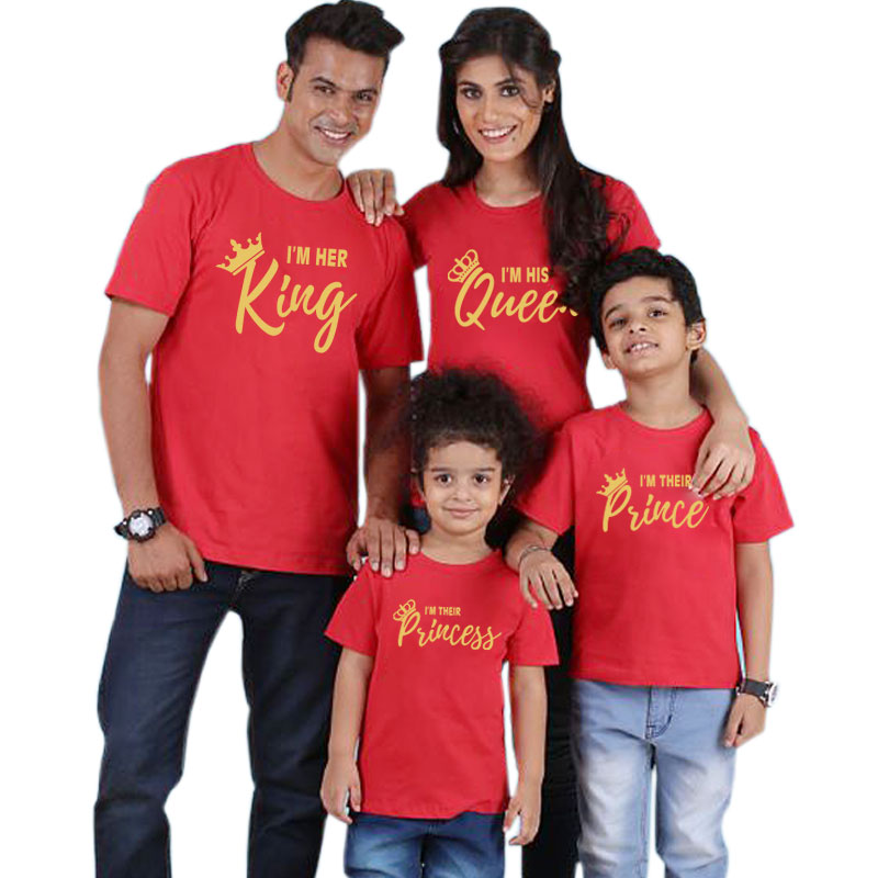 HTB1qJJUd8Kw3KVjSZTEq6AuRpXap Summer mother and daughter clothes family matching outfits mommy and me look tshirt father mom son baby clothing King Queen