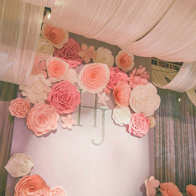 35pcs Giant Paper Flower Set Large Flower Big Paper Flower For Wedding Party Background Flower Wall Backdrop Decoration In Artificial Dried