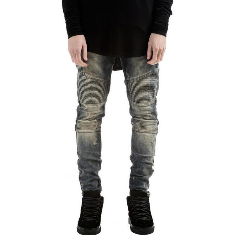 Elastic Jeans Mens 2017 New Fashion Locomotive Fold Jeans Men Retro Blue Worn Out Slim Pencil Pants Male Brand 2017 new fashion slim mens pencil pants