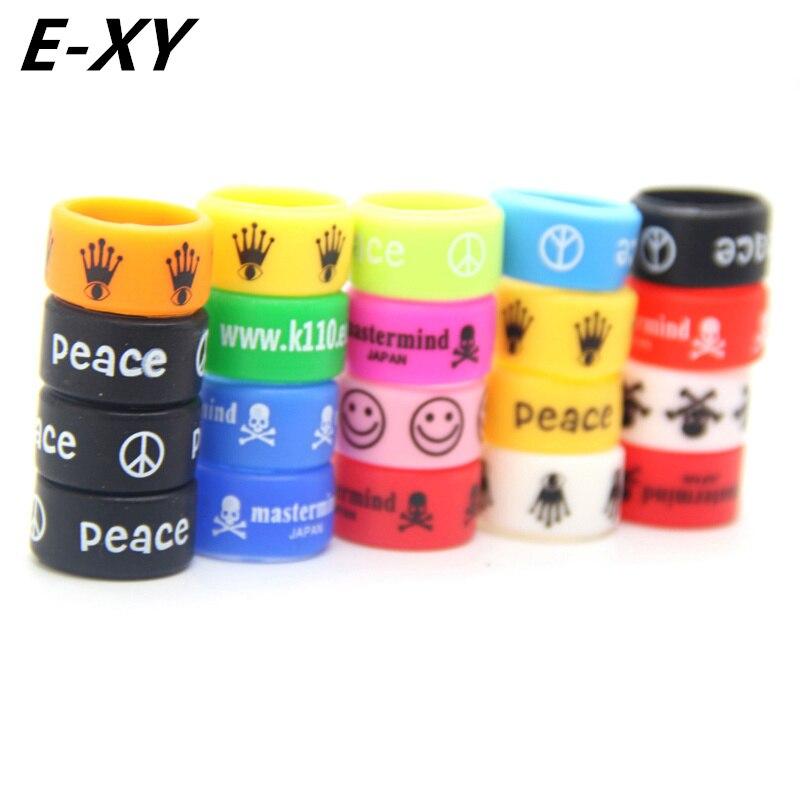 E-XY 200st Färgstarkt Silikonband Ej Skidring Inre Diameter 18mm E Cig Tillbehör Silikon Ringar Halsband För E-Cigarett