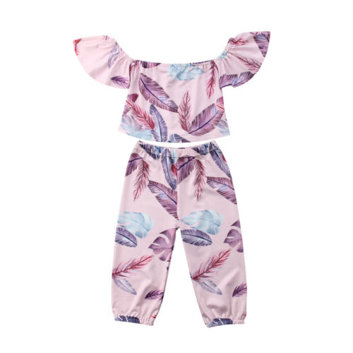 Kids Baby Girl Clothing Off Shoulder Flower Feather Tops T-Shirts Pants Outfits Casual Cotton Clothes Summer 6M-5T