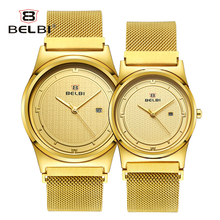 Belbi Couple Gift Watches Simple Round Design with Comfortable Steel Strap Lovers' Clock Waterproof Quartz Battery Wristwatches