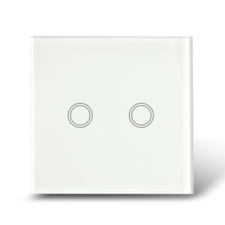 MakeGood EU Standard, commutateur tactile 2 voies 1 voie, panneau de commutation en verre cristal blanc, avec rétro-éclairage LED bleu pour la maison intelligente