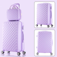 Korea fashion 14 24inches abs+pc travel luggage bags sets on 8 universal wheels,girl candy color trolley luggage,pink green bags