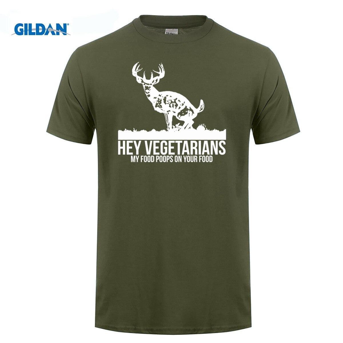 GILDAN Hey Vegetarians My food poops on your food deer t-shirt hunt