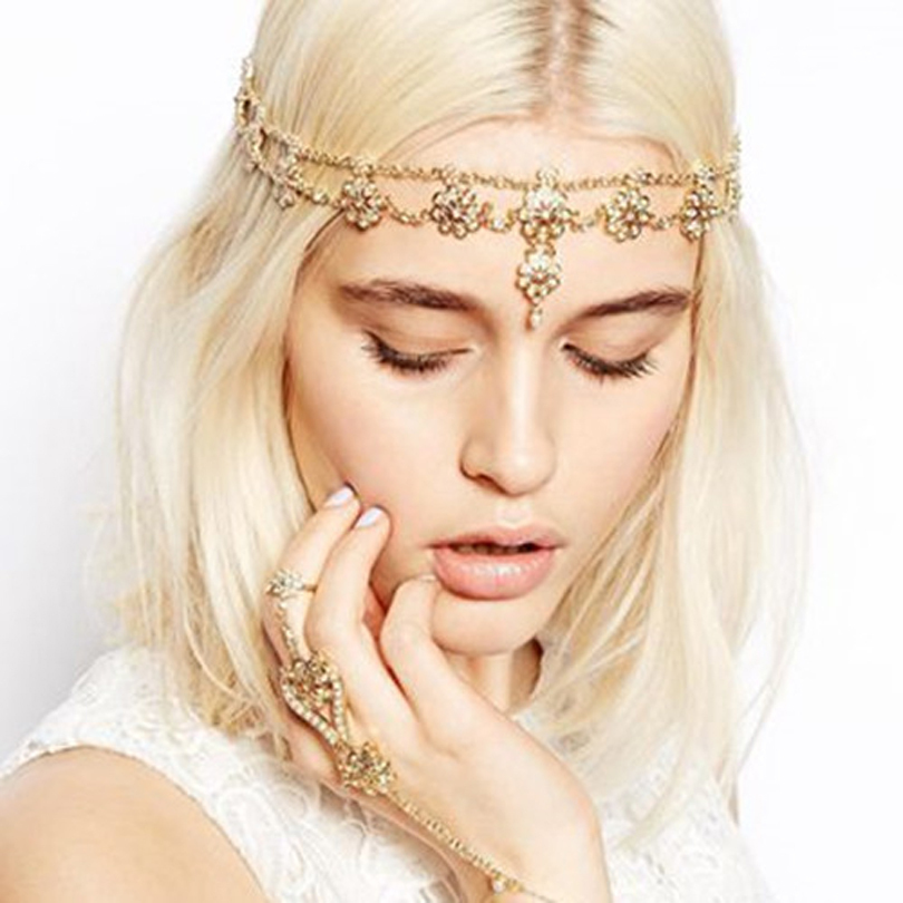 Vintage Head Chain Indian Hair Jewelry For Women Bijoux De Tete Pearl Headdress Rhinestone Boho Forehead