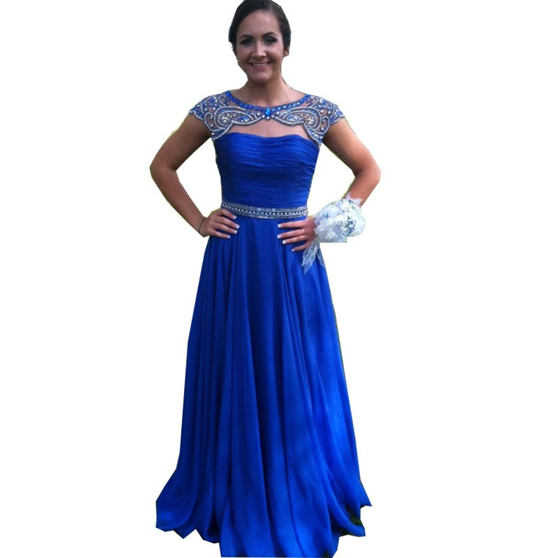 formal dresses for summer wedding royal blue prom dresses beautiful cap sleeve sheer back 4316