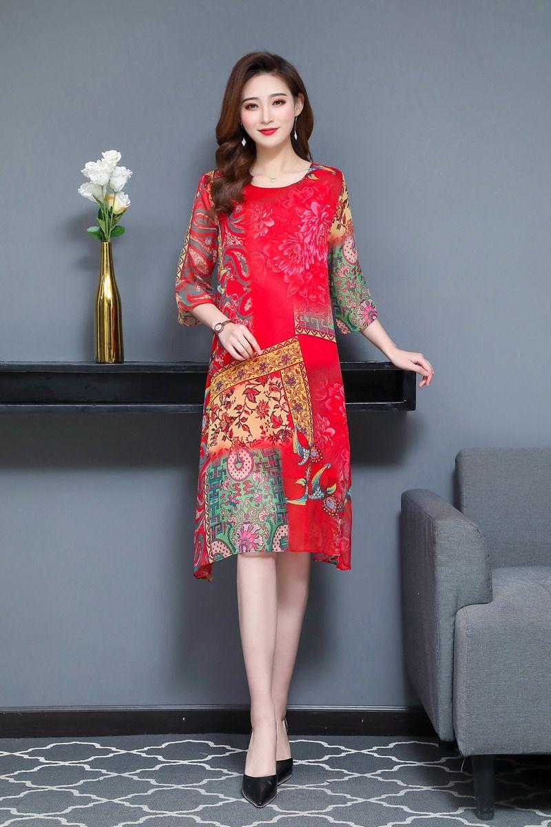 Oriental Style Women Summer Dresses Black Red Ethnic Check Pattern Chiffon One Piece Vestidos Half Sleeve O-neck Silk Dress Woman (12)