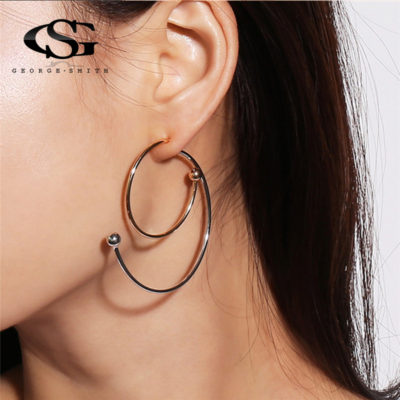 GS Newest Punk Style Gold Color Spiral Dangle Earrings For Women Ladies Tribal Round Drop Earring Circle Ear Festival Jewelry R4