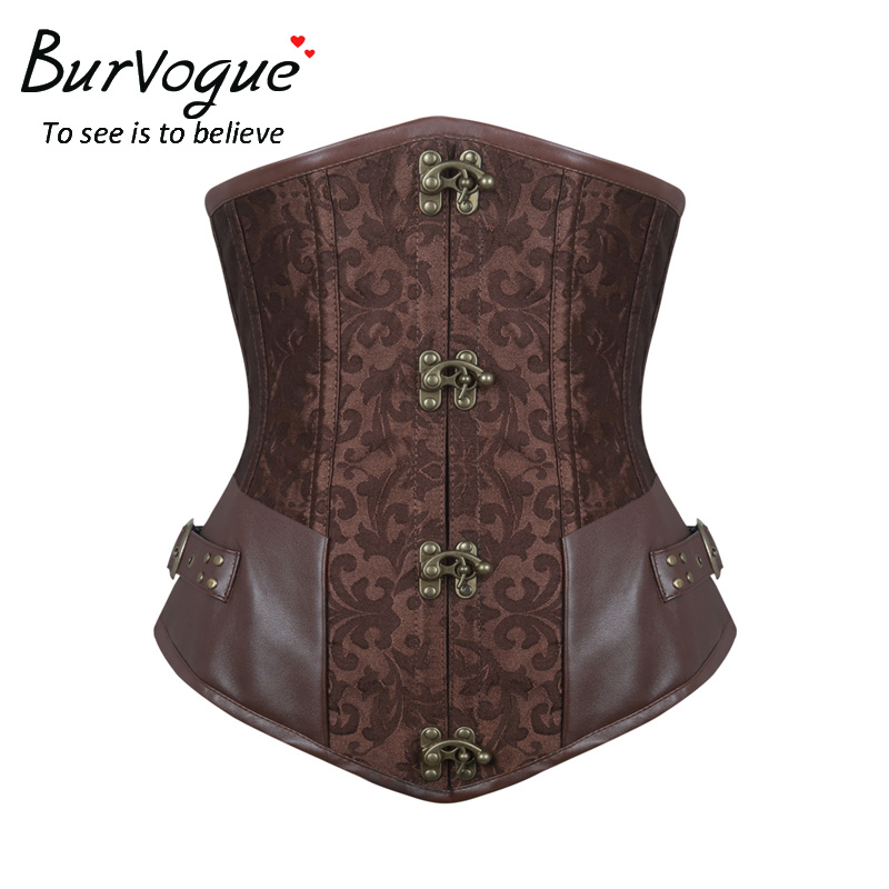 Burvogue Waist Control Steampunk Corsets and Bustiers Leather Corsets Sexy Women Gothic Underbust Corselet Steel Boned Corsets
