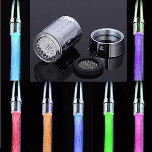 Image 5 - Luz LED para grifo de agua, 7 cambios de color, grifo de ducha brillante, Sensor de presión, temperatura del baño, accesorios de cocina