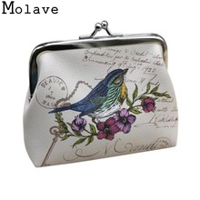 2017 New Arrivals Women Fashion Birds Print PU Leather Change Purse Ladies Small Wallet Hasp Card Coin Purse Clutch Bag Apr27(China)