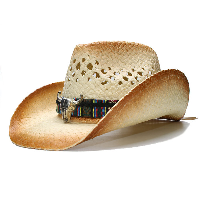 bf5b6e83651d5 LUCKYLIANJI Summer Women s Men s Wide Brim Straw Sun Beach Cowboy Cowgirl  Western Hat Bull Head Leather Band (One Size 58cm