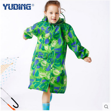 ed825087dfa Unisex kids raincoat outdoor waterproof polyester school bag boys girls children  kids long raincoat hooded free