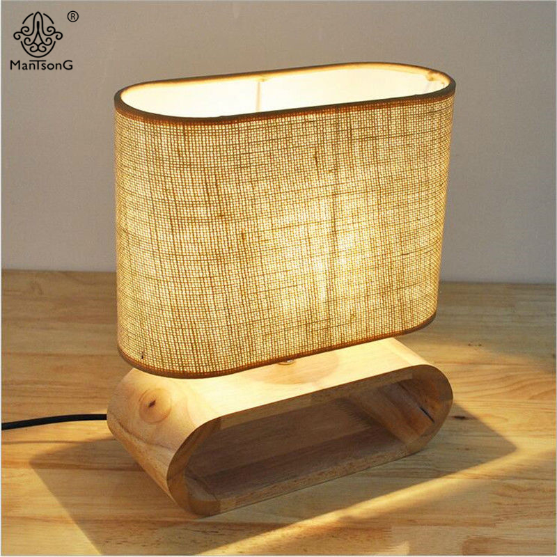 Modern Table Lamp Wooden Base Fabric Lampshade Desk Lamp Light & Lighting AC 110V 220V Key/Dimmer Switch for Decor Bedroom Light 5lens led light lamp loop head headband magnifier magnifying glass loupe 1 3 5x y103