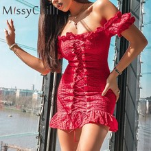 MissyChill Red ruffle sexy summer holiday dress Women off shoulder lace up bodycon dress Elegant short beach club mini dress dot(China)