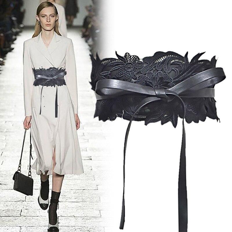 Woman cummerbund lace Decorative Wedding Dress   Belts   Fashion Versatile faux leather laced wide   belt   Corset white waistband C37