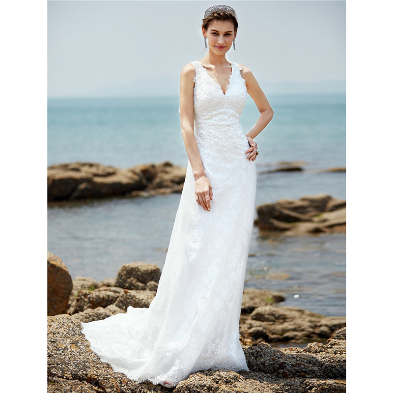 LAN TING BRIDE Sheath Column Wedding Dress Full Sleeves V neck Sweep ...