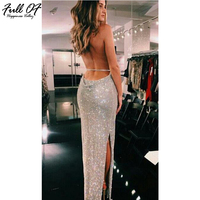 Sexy Women Summer Metal Chain Crystal Diamond Luxury Club Party Dresses Maxi 2018 Halter Gold Silver