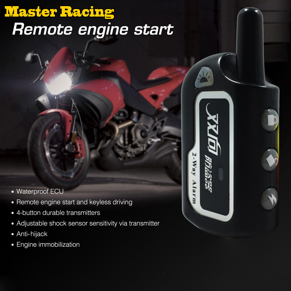 Master Racing Two Way Alarm Motorcycle Scooter Security 2 way Alarm Remote Control Engine Start Vibration Alarm Lock System цена 2017