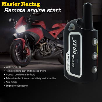 Master Racing Two Way Alarm Motorcycle Scooter Security 2 way Alarm Remote Control Engine Start Vibration Alarm Lock System
