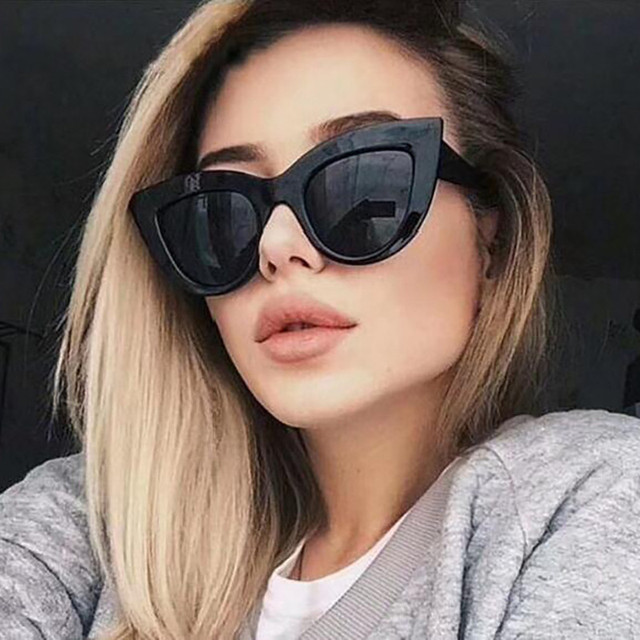 Rose Gold Cat Eye Sunglasses For Women Pink Mirror Shades Female Sun Glasses Black White Coating Cateye Aviation Oculos 2018