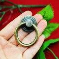 37 mm Vintage gaveta do armário da porta alça de Bronze mobiliário Tone Hardware porta anel Pull Handle w parafuso