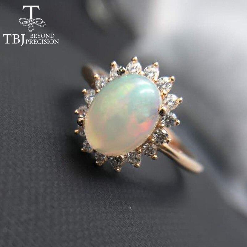 TBJ, élégant 1.5ct opale dame anneau, ovale 7*9mm naturel éthiopien opale de feu classique diana anneau en argent sterling 925 bague de pierres précieuses