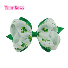 1PC 4Inches St.Patricks Day Shamrock Hair Bows  Girls Hair Clips Grosgrain Ribbon  Bows For Girls Hair Accessories