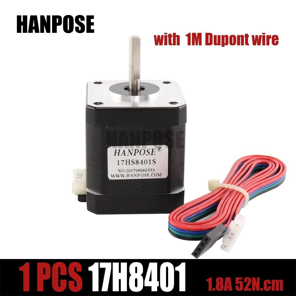 Para impressora 3d frete grátis 1 pçs 4-lead nema17 motor deslizante 42 nema 17 motor 42 bygh 1.7a (17hs8401s) com linha dupont