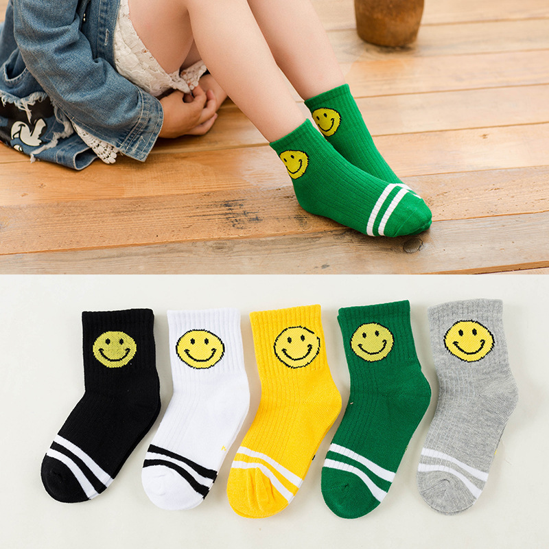 5Pair/Lot New Soft Cotton Boys Girls Socks Cute Cartoon Pattern Kids Socks For Baby Boy Girl 5 Kinds Style Suitable For 1-12Y