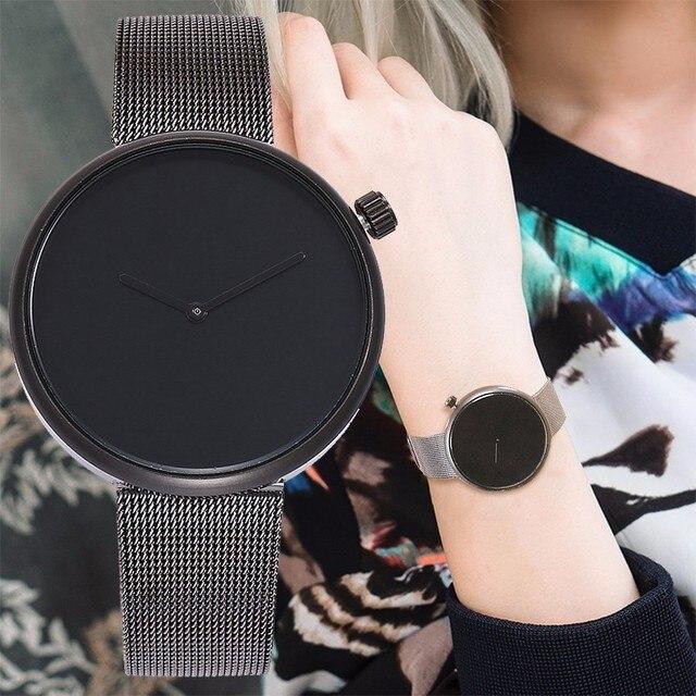 Vansvar Brand Fashion Women Men Stainless Steel Silver Black Mesh Watch Unique S