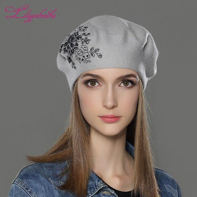 LILIYABAIHE Nuove Donne di Inverno Cappello di lana Lavorato A Maglia  Berretti Berretto con fiore Paillettes 67ad29b65118