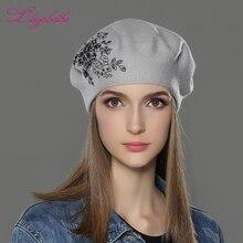 LILIYABAIHE yeni kadın kış şapka yün örme bere kap çiçek payetler elmas dekorasyon katı renkler moda bayan şapka