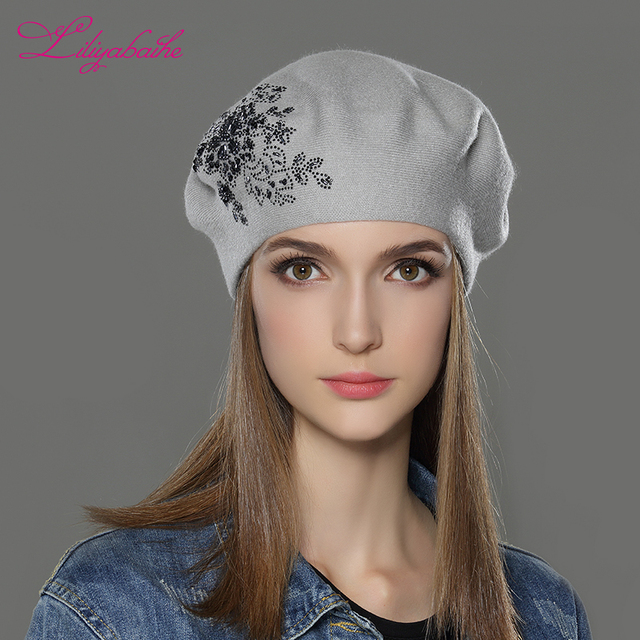 LILIYABAIHE 新女性の冬の帽子ウールニットベレーキャップ花スパンコールダイヤモンドの装飾固体色のファッションの女性帽子