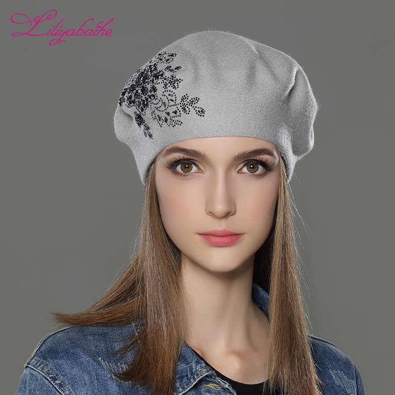 Nuevo gorro de lana de invierno para mujer, con lentejuelas de flores, decoración de diamantes y colores sólidos para mujer