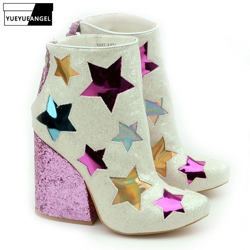 2019 New Bling Five-pointed Star Wedge Shoes for Women High Quality Tassel Ladies Pink Heels Shoes Autumn Pointed Ankle Boots