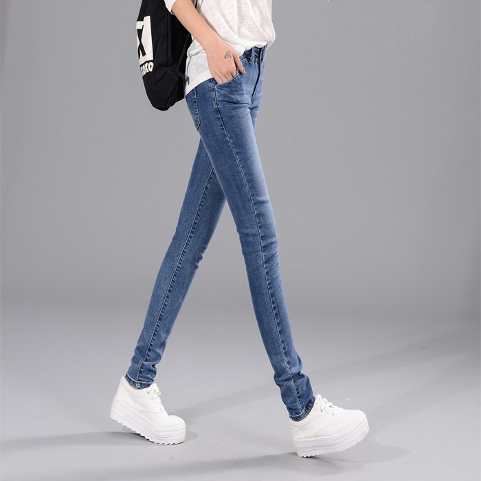 2017 spring and autumn fashion casual Slim thin tight Jeans Denim Pencil pants trousers women ladies girls clothing clothes