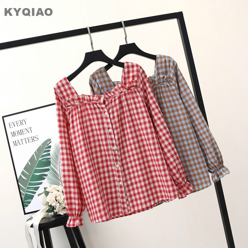 Creative Kyqiao Mori Girls Autumn Winter Japanese Style Fresh Cute Peter Pan Collar Long Sleeve Blue White Solid Blouse Shirt Blusa Women's Clothing