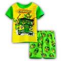 2016 Nova verão Crianças roupas casuais terno do bebê dos meninos dos desenhos animados outfit ternos dos meninos T-shirt + calças curtas conjunto de roupas Crianças w08