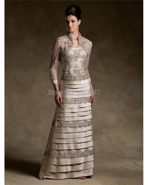 2016 Great Design mãe dos vestidos de noiva com jaqueta Applique mãe da noiva vestido de renda
