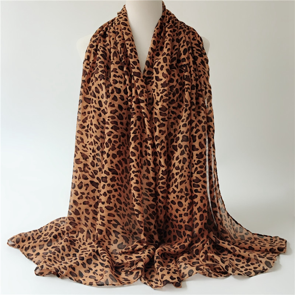 5pcs Pop Fashion Women Leopard print Print Soft Shawl Muslin   Scarf     Wrap   Long Balinese yarn shawl 2colors k1