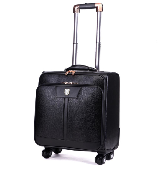 Universal wheels trolley luggage travel bag code case 16 20 24 luggage leather bags,high quality pu leather travel luggage bags