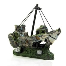 Wreck Gezonken Schip Aquarium Ornament Zeilboot Destroyer Aquarium Cave Decor Gratis shipping-Y102(China)