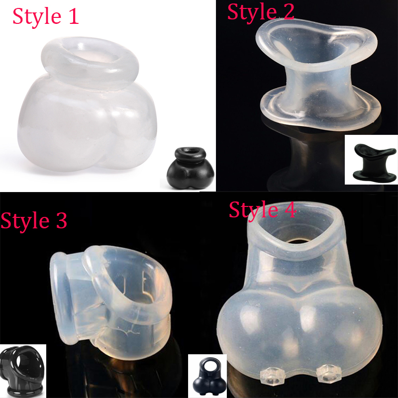 4 Styles Male Scrotum Squeeze Ring Ball Stretcher Enhancer Penis Sleeve  Scrotum Pouch Time Delay Cock Ring Chastity Cage Sex Toy