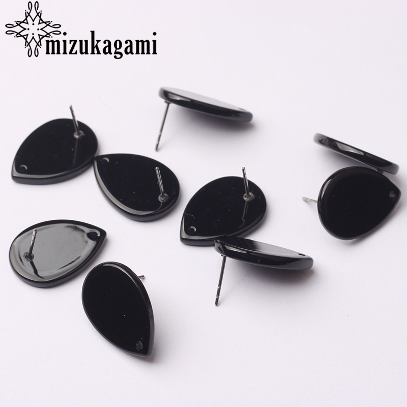 Black Acetate Resin Tear Water Drop Earrings Base Connectors 6pcs/lot 15*20mm For DIY Fashion Earrings Jewelry Accessories