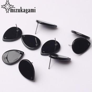 Black Acetate Resin Tear Water Drop Earrings Base Connectors 6pcs/lot 15*20mm For DIY Fashion Earrings Jewelry Accessories