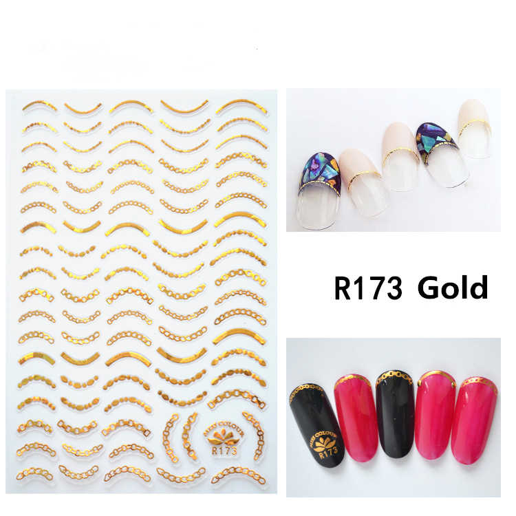 1 sheet Self Adhesive Nail Stickers Horse eye wave line wave point laser gold or silver Slider Nail Decals Accessories Supplies