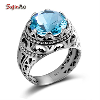 Top Sale Trendy Blue Austrian Crystals Lord Of The Rings For Women Men 100 925 Silver