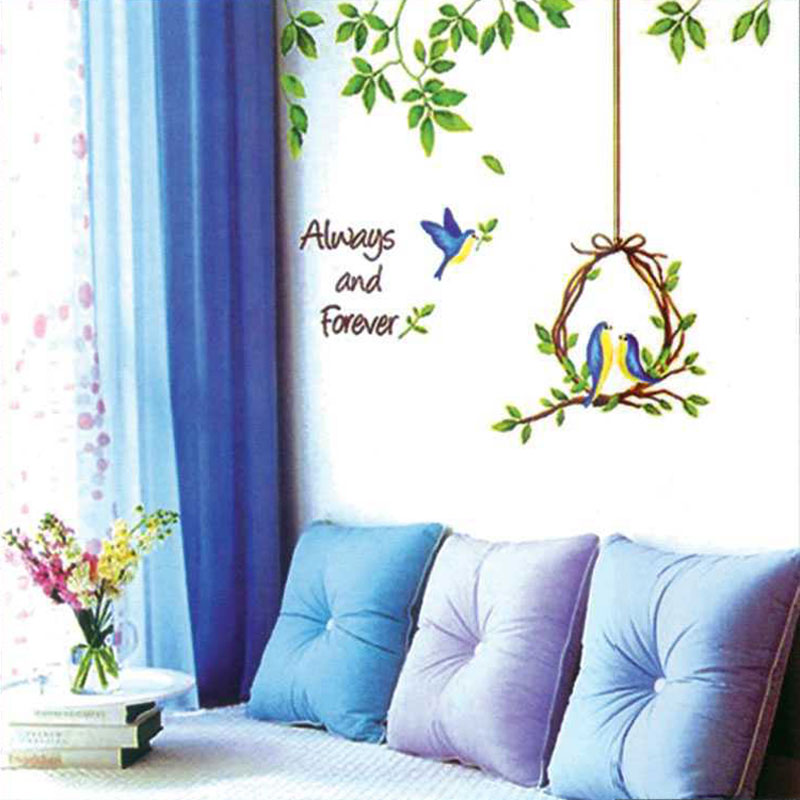 Free Shipping Home Decorative Mural Decal Art Vinyl Wall Sticker Happy Bird Couples Love Always and Forever Wallpaper